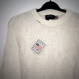 Old Glory Sweater L 38 Cotton Ivory Crew Fisherman